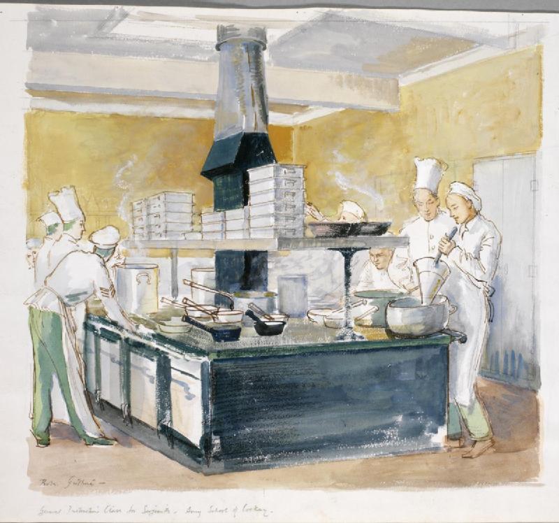 General_Instruction_Class_for_Sergeants_-_Army_School_of_Cookery,_Aldershot_Art.IWMARTLD1163